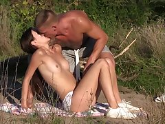 Sexy romance in outdoor with lovely Heather Harris