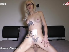 Blonde tattooed amateur U-turn cowgirl can't stop squirting on his cock