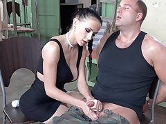 Sexy brunette primate dick be required of military
