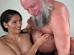 Buxom and sexy beauty Ava Sinister rides older man's incautious blarney on top