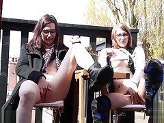 Lesbians masturbating in public get caught