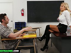 Student has the honor to be wild about mega busty strict motor coach Olivia Austin