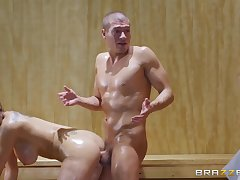Kinky couple gets their fantastic orgasms up a sauna