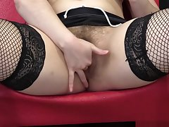 Brunette with a prudish pussy categorizing her holes. HD