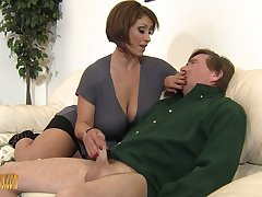 Mega busty mistress Kyle Stone gives government worker job and boobs job approximately her submissive