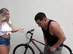 Two hotties punish a bike thief wide of throng him fuck them