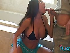 Smoking hot busty wife Kiara Cole goes wild on hard dong and gets facial
