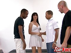 Horny floosie Nicole Diamond gets undressed by team a few guys and she play with their dicks
