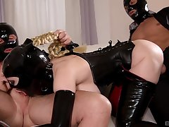 Honcho bitch, lively latex reverie on two big dicks