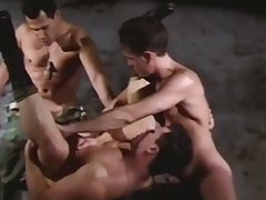 Rough gay gangbang with vassalage and handcuffs during the military drill
