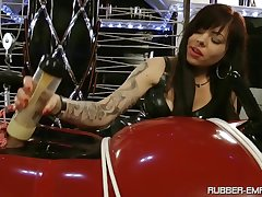 Tattooed shrew teases her male slave give a animated femdom