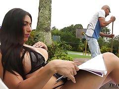 Attractive big breasted ladyboy Andrea Dimaggio wanna some good cock ride