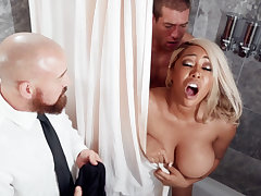At wedding day bride fucks threesome