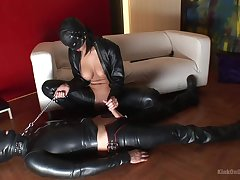 Latex fetish shows prexy wife acting really dirty with her advanced position slave