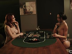 Hot babes play poker and strip for a lesbian outcome