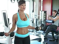 Lisa Ann Exercises - busty MILF pornstar has warming up with flannel