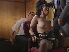 Horny with an increment of booked Katrina Jade gets will not hear of shaved pussy pleased by will not hear of lover