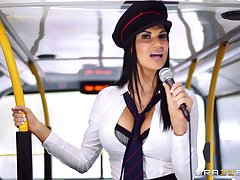 Pornstars Jasmine Jae with the addition of Madison Ivy fucked hard by the bus driver