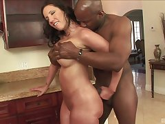 Homemade interracial porn dusting with a BBC and MILF Kelly Divine