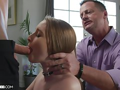 Several young guys fuck Laney Grey in the matter of front of her old husband