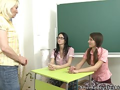 Grown up lesbian teacher Amanda is bonking three pretty student girls