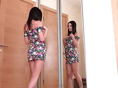 Sex-hungry teen Velvet is finger fucking pussy before of rub-down the mirror image