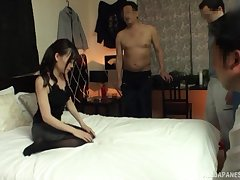 Long haired Japanese in stockings Tomita Yui gangbanged and abused