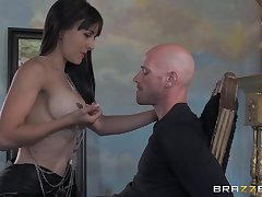 Small tits Cytherea drops unaffected by her knees to be covered with cum